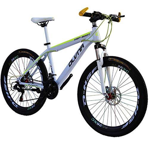 WEHOLY Vélo 'Mountain Bike' pour Homme, Cadre en Acier de 17 ', fourches de Suspension Avant à Amortisseur arrière entièrement réglables à 21/24/27/30 Vitesses, Blanc, 27 Vitesses