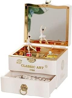 LF Stores Cajas Musicales Joyero de música Dulce con cajón extraíble y Caja de almacenaje de Joyas de Ballet Girl. (Color : White)