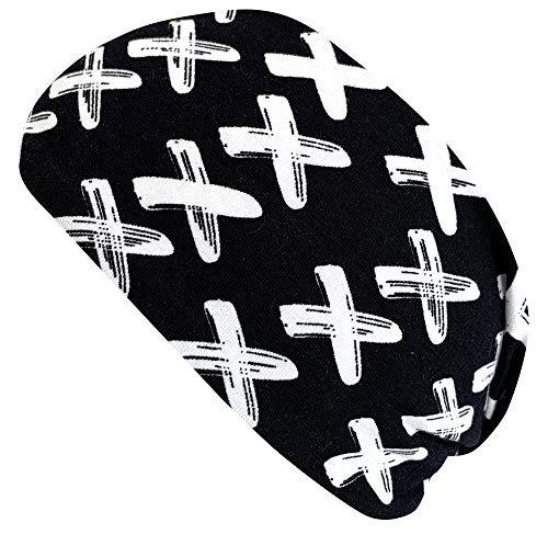 Wollhuhn ÖKO Damen/Mädchen Süßes elastisches BIG CROSS TWIST Haarband/Stirnband Gedreht Schwarz/Weiß (aus Öko-Stoffen, bio) 20193058