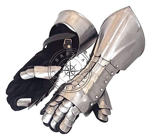 Hanzla Collection Guantes de armadura funcional templario de acabado de acero de hierro Caballero medieval réplica guanteletes