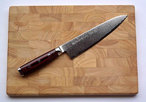 Damastmesser Yaxell SUPER GOU 161 - Kochmesser 20cm Klinge - Schnittkern aus Pulverstahl 63HRC + Schneidbrett