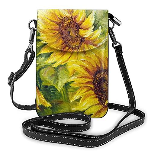 Risating Tasche Schultertasche Geldbörse – Sonnenblume Ölfarbe Kleine Handtasche Münzbörse mit verstellbarem Riemen PU-Leder für Frauen Mädchen