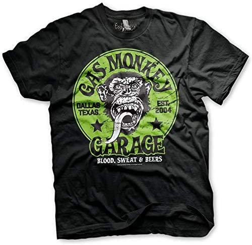 Gas Monkey Garage Officially Licensed - Logo Verde T-Shirt Camiseta T Shirt GMG - 100% Oficial