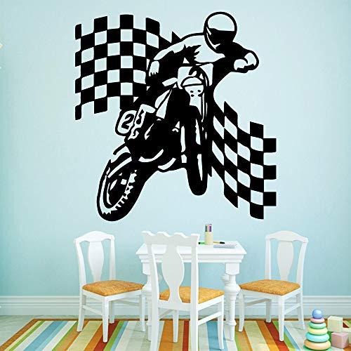 Geiqianjiumai grappige sporters motorfiets vinyl zelfklevend behang baby kind kamerdecoratie sticker wandfoto