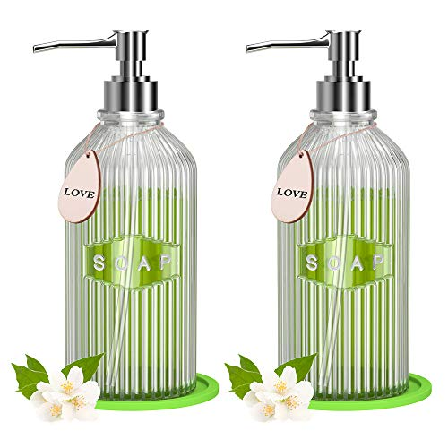 (50% OFF) 2 Pack Clear Glass Soap Dispenser with Rust Proof Pump $6.98 – Coupon Code