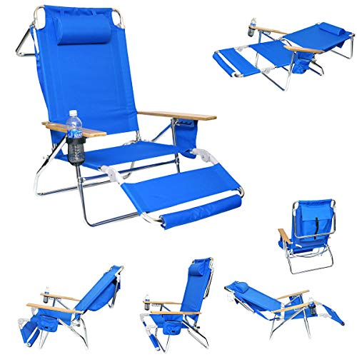 Deluxe 3 in 1 Lay Flat Aluminum Beach Chair Lounger with Drink Holder and Large Storage Pouch