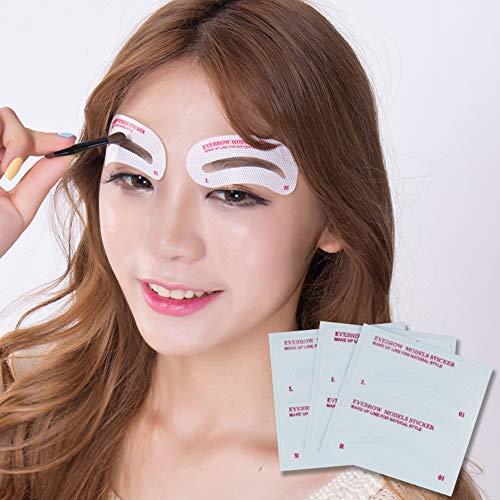 48 Stück Augenbrauen-Form-Schablonen, einfache sofortige Augenbrauen-Form-Schablone, Augenbrauen-Schablonen, Former, Zeichnung, Augenbrauen-Form, Microblading-Schablonen-Set für Anfänger