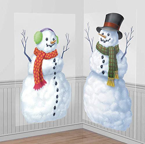 Amscan 2 Décoration murales en Carton Bonhommes de Neige - Taille Unique