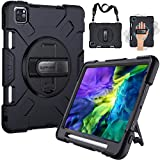 SUPFIVES iPad Pro 11 Case 2020/2018 with Strap and Pencil Holder [Support Pencil Charging]+Hand Strap+Shoulder Strap+Stand Heavy Duty Shockproof Case for iPad Pro 11 inch 2nd/1st Generation(Black)