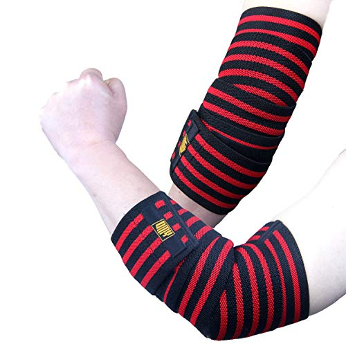 DMY Elbow Sleeve Wraps-Elbow Straps Brace For Support & Compression for Weightlifting, Powerlifting, Fitness, Cross Training & Gym Workout,8 Inchs Velcro,1 Pair