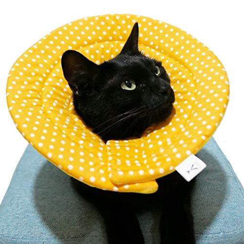 Komiiエリザベスカラー 犬用 猫用 軽量 布製 柔らかい 可愛い 傷口保護 傷舐め防止 引っ掻き防止 (イェロー水玉, L)
