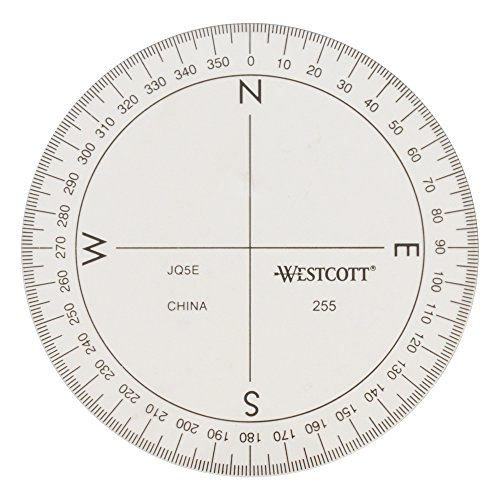 Westcott 3 1/2-Inch 360 Degree Compass Protractor, Transparent (255), Clear