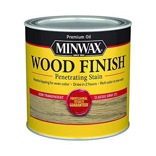 Minwax 227614444 Wood Finish Penetrating Interior Wood Stain, 1/2 pint, Classic Gray