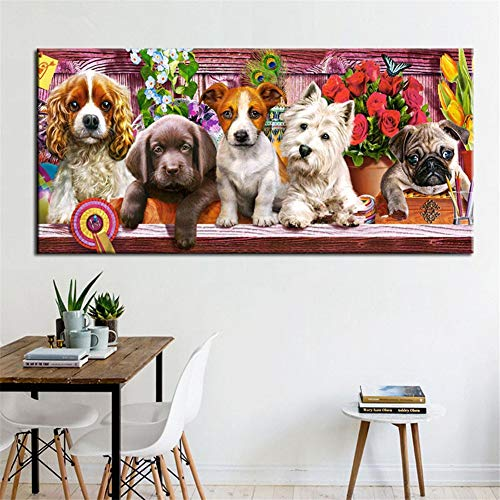 5D Diy Diamond Painting Kit Perrito Full Drill Rhinestone Crystal Embroidery Cross Stitch For Adults Kids Arts Craft Canvas Pictures By Number Set For Living Room Bedroom Wall Decor C7072 40X80Cm