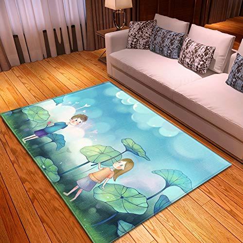 Kids Cartoon Rug, Watercolor Green Lotus Leaves Boy Girl Short Pile Polyester Carpet, Baby Room Non-Slip Rug 140x200cm