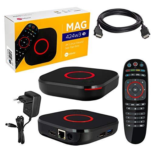 MAG 424w3 Decodificador de televisión, Infomir y HB-Digital original, 4K, IPTV, reproductor multimedia, televisión por internet, receptor IP, UHD 60 FPS, HDMI 2.0, HEVC H.256, admite ARM Cortex-A53