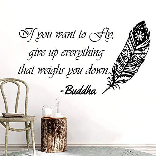 ASFGA Etiqueta de la Pared Inspirada Pluma Buda Dice Que si Quieres Volar Renunciar a Todo Pegatinas de Vinilo decoración del hogar Dormitorio Mural 85x151 cm