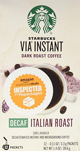 Starbucks Coffee 12-servings Extra Bold Decaffeinated Starbucks VIA Ready Brew Decaf Italian Roast Coffee, Instant 39.6g.
