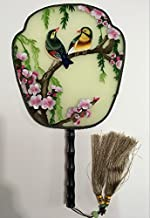 3D Lifelike Love Birds Embroidery Stitchwork Decorativ Silk Hand Fan Gift