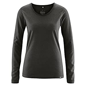 HempAge Damen Langarmshirt Hanf/Bio-Baumwolle Black S