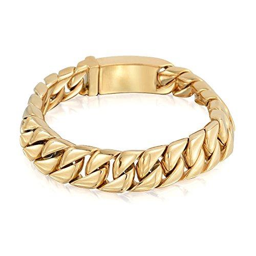 Bling Jewelry Grandes Y S Cubano Sólido Curb Chain Pulsera para Hombres Pulido De Acero Inoxidable Chapado En Oro De 12Mm