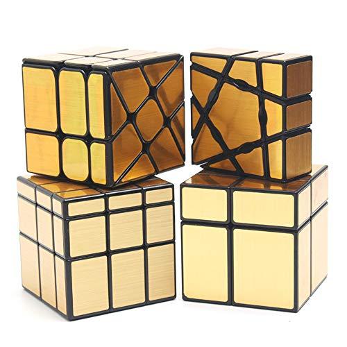 HJXDtech 4 Pack Speed Cube Paquete de 1x3x3 Ghost Cube + 2x2x2 y 3x3x3 Mirror Cube + Windmill Cube Pegatinas de Espejo Irregulares Juego de Cubos mágicos (Oro)