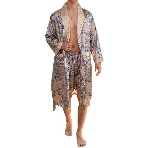 MAGE MALE Men's Summer Luxurious Kimono Soft Satin Robe with Shorts Nightgown Long-Sleeve Pajamas Printed Bathrobes (Blue Gold, XXXL)