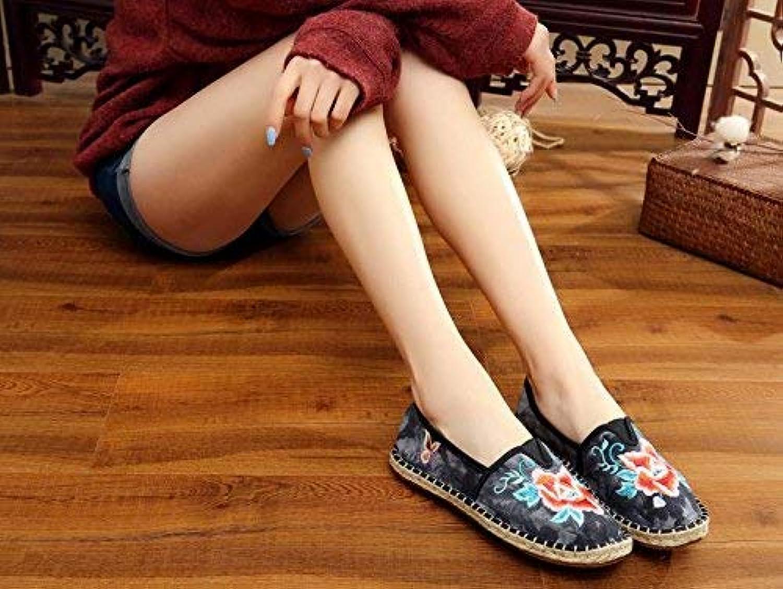 HhGold Bestickte Schuhe, Sehnensohle, Ethno-Stil, weibliche weibliche weibliche Stoffschuhe, Mode, bequem, lässig in der Erhöhung, schwarz, 40 (Farbe   -, Größe   -)  e60a0b