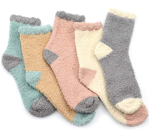 Durio Kuschelsocken Damen Wintersocken Warme Flauschige Weihnachtssocken Fuzzy Sock D 5 Paare Patchwork B