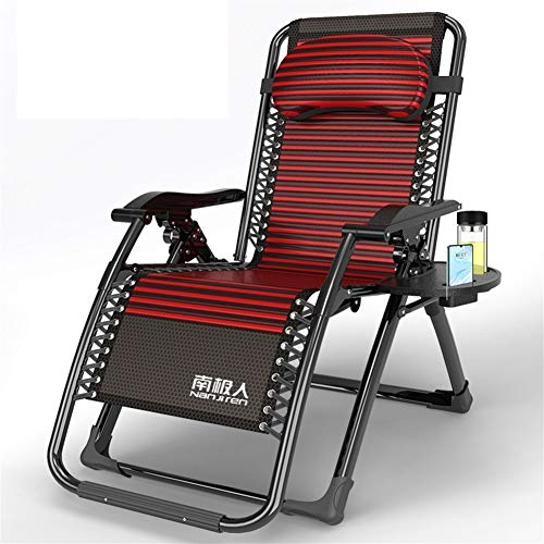 Red Garden Loungers And Recliners Folding Adjustable Sun Bed With Storage Tray Zero Gravity Sun Lounger For The Beach Pool Outdoor Patio Garden Camping 200kg Max c2024 ( Color : Without cushion )