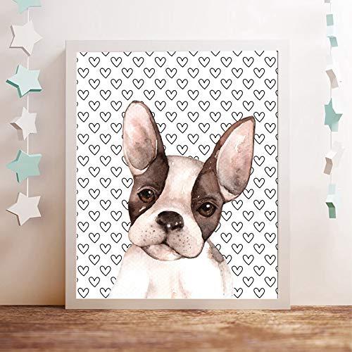 YuanMinglu Herz Boston Terrier—Tierölgemälde—Wandbilder Für Kinder Wohnzimmer Kindergarten—Pop Art Hund Leinwand Poster—Rahmenlose Malerei—40X60Cm