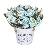 Artificial Rose Flower Pot Fake Rose Flowers Bonsai Pot Artificial Flowers in Metal Pot Artificial Rose Metal Pot Bonsai Artificial Blue Rose Flower Pot for Wedding Party Stage Bathroom Cabinet, Blue