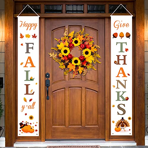 Fall Decor | Thanksgiving Decorations | Happy Fall Y'all & Give Thanks Porch Banners for Thanksgiving Decor | Welcome Fall Signs