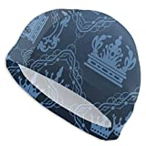 huatongxin Blue Crown Pattern Badekappen für Männer und Frauen Are Also Suitable for Boys and...
