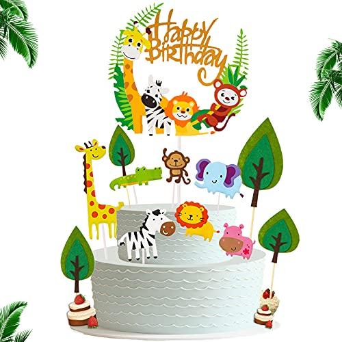 BOYATONG Tortendeko Kindergeburtstag,Tortendeko Tiere,Kuchen Deko Junge,Tier Dschungel Thema Partyzubehör Cupcake Dekoration,Happy Birthday Girlande mit Blätter Cake Deko