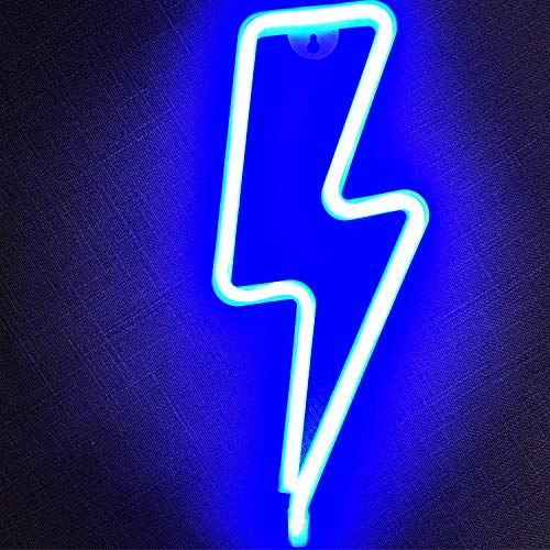 Fancci Led Blitz Neonlicht Nachtlicht für Schlafzimmer - Batterie oder USB Neon Sign Schild Lampe betriebene Leuchtreklamen für Wand Deko Kinderzimmer Party Wohnzimmer Weihnachten Neujahr (Blau)