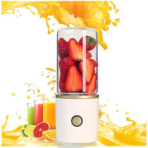 Tragbarer Mixer Digitalanzeige USB-Ladegerät Persönlicher elektrischer Smoothie-Mixer für Saftschalen mit 6 Klingen Geeignet für Milchshakes Obst und Gemüse,White
