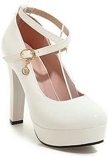 BalaMasa Womens Dress Solid Baguette-Style Urethane Pumps Shoes APL10617