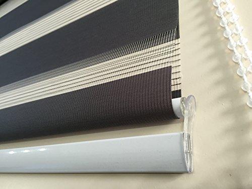Dubbel rolgordijn duo-rolgordijn kleur donkergrijs verschillende breedtes lengte 250 cm met brede verzwaring + gesloten cassette + kettingkoord alternatief voor gordijn of plissé 150 donkergrijs