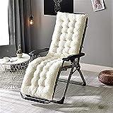 Cojín de silla mecedora para al aire libre interior extra grande tumbona cojín jardín espesado grueso no deslizamiento chaise tumbonas cojín portátil asiento cojín cremoso-blanco 130x50cm (51x20 pulga