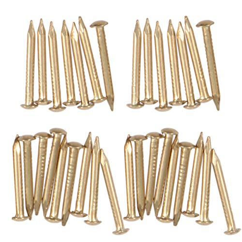 Healifty Clavos de Latón de Cabeza Redonda de 200 Piezas para Proyectos Artesanales de Bricolaje Cajón Antiguo Reparación de Mini Cajas Accesorios Decorativos (Latón)