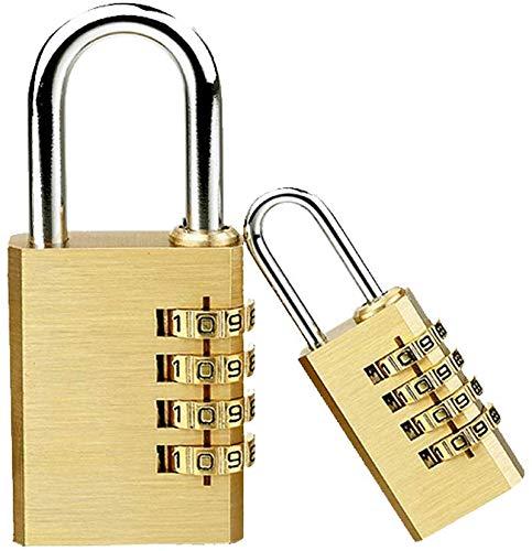 Combination Padlocks, TSA Luggage Padlocks, Set Your Own Combination Lock, 4-Digit Combination Lock, Brass, Best Used for Indoor Storage Lockers, School Lockers and More, 2 Pcs