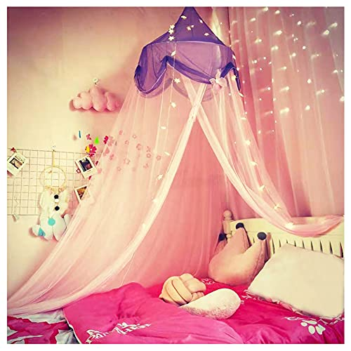 NYDECOR Mosquito Net Bed Canopy Curtains Princess Butterfly Reading Canopies for Girls Kids Twin Full Size Beds Castle Play Tent,Pink and Purple