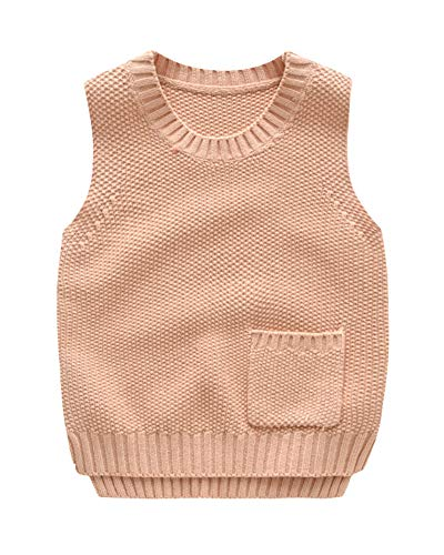 Niños Niñas Chaleco Jersey De Punto Cuello Redondo Sin Mangas Suéter Pullover Pink 130 Adecuado para la Altura: 130CM