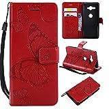 Aralinda Étui portefeuille en similicuir avec dragonne pour Sony Xperia XZ2 Compact Motif fleurs et...