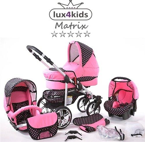 Chilly Kids Matrix II Kinderwagen Sommer-Set (Sonnenschirm, Autositz, Regenschutz, Moskitonetz, Schwenkräder) 44 Rosa & Rosa Punkte
