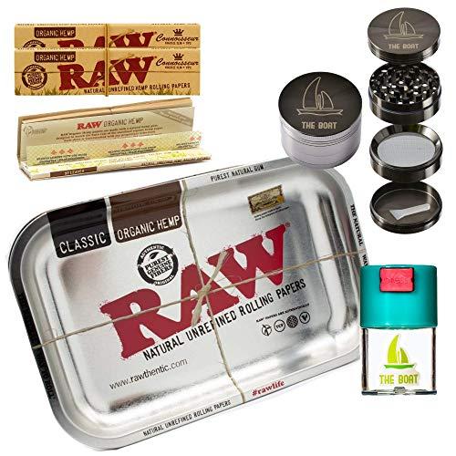 Kit para fumar RAW Bandeja para liar metálica pequeña 27,5cm x 17,5cm + RAW Organic Connoisseur Kings Size (3 unidades) + Bote hermético antiolor + Grinder THE BOAT 4 partes con rascador.