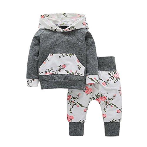 RETUROM Conjuntos de Ropa de Invierno, 2pcs bebé de niña con Capucha Floral Tops + Pantalones Conjuntos (18-24M, Gris)