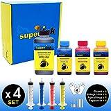(S) Small-4 Kit de tintas superInk (Dye) para Todas Las impresoras de Brother 1x250ml Negro + 3x100ml (Cian + Magenta + Amarillo) + 4 Set de Accesorios (Guantes, jeringas, Agujas)