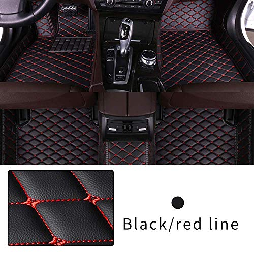 Car Floor Mat Custom Made For 95% CAR, Full Coverage Interior Protection Waterproof Non-Slip Leather Mat Black With Red line